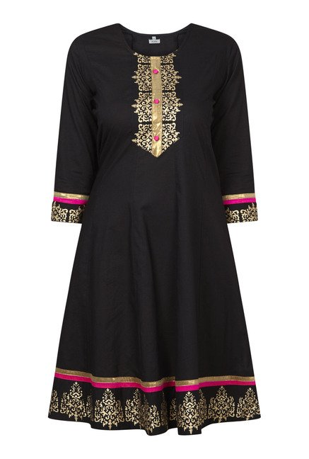 Zudio Black Printed Anarkali Kurta
