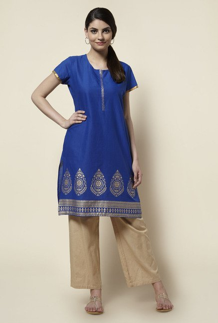 Zudio Royal Blue Printed Kurta