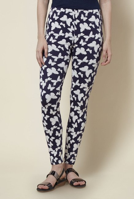 Zudio Navy Printed Leggings