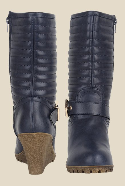 Kielz Blue Wedge Heeled Booties