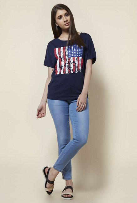 Zudio Navy Relaxed Fit T Shirt