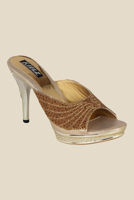 Kielz Golden Stiletto Heeled Sandals