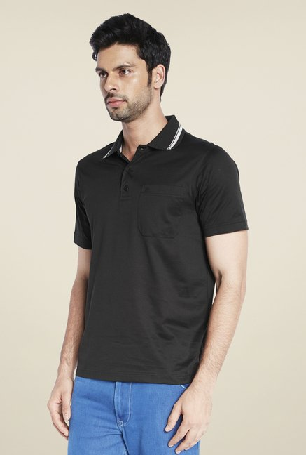 Raymond Black Solid T Shirt