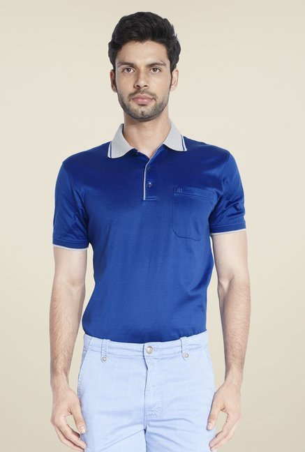 Raymond Blue Solid Short Sleeve T Shirt