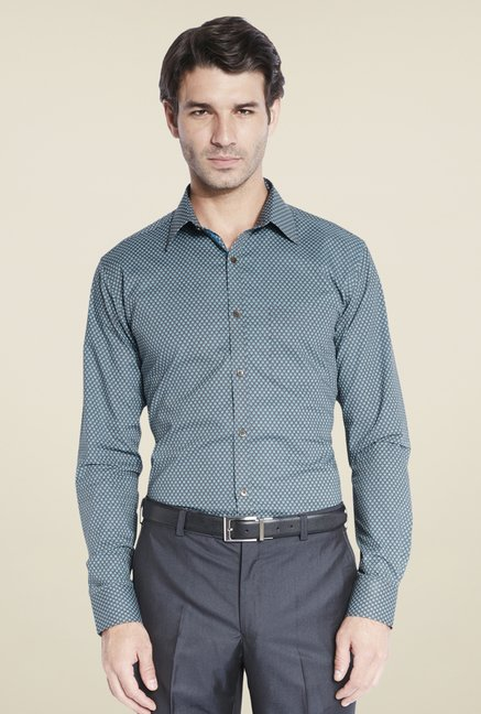 Park Avenue Teal Printed Shirt