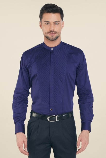 Raymond Dark Blue Solid Shirt
