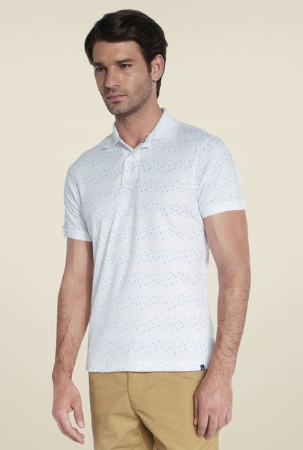 Parx White Print Cotton T Shirt
