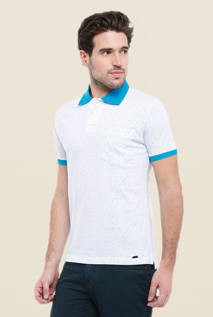 Parx White Solid Cotton T Shirt