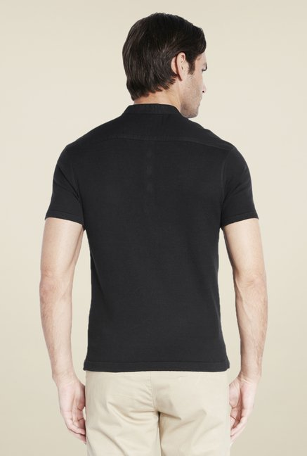 Parx Black Solid T Shirt