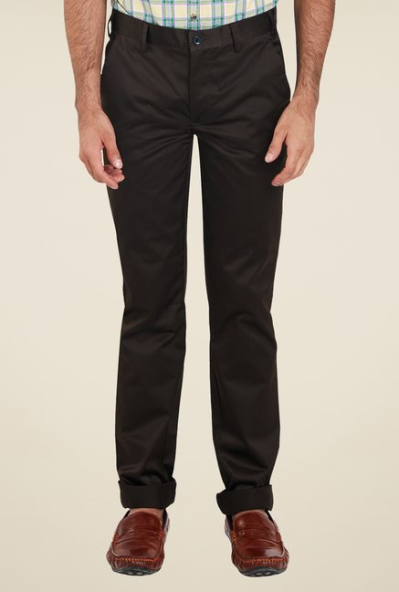 Park Avenue Brown Solid Trousers