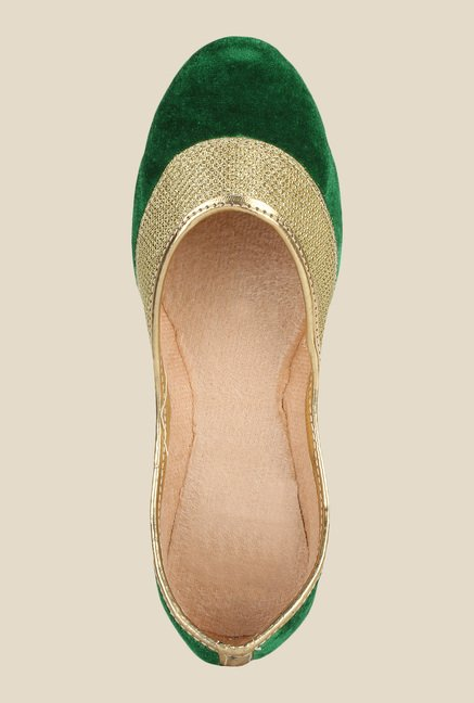 Sassily Green & Golden Jutti Shoes