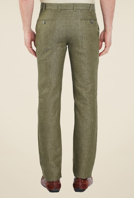 Park Avenue Olive Textured Trousers