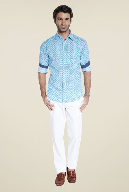 ColorPlus Turquoise Printed Shirt