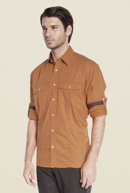 ColorPlus Brown Solid Shirt