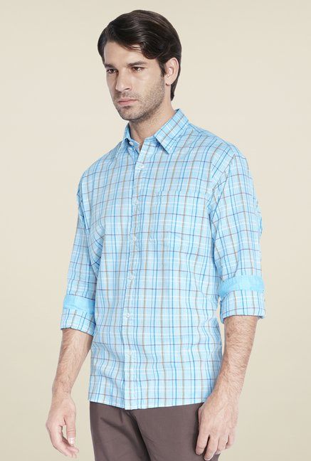 ColorPlus Turquoise Checks Shirt