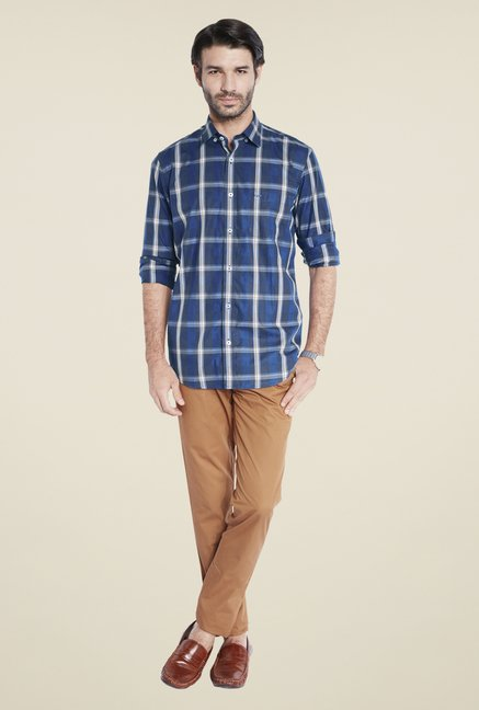ColorPlus Navy Checks Shirt