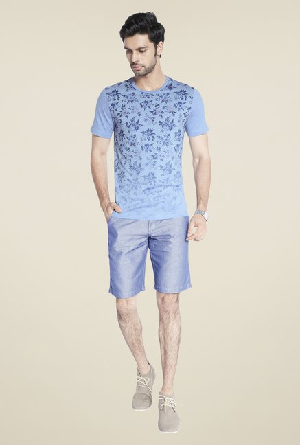 ColorPlus Blue Printed Slim Fit T Shirt