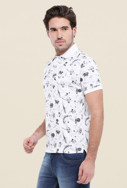 Parx White & Grey Print Regular Fit T Shirt