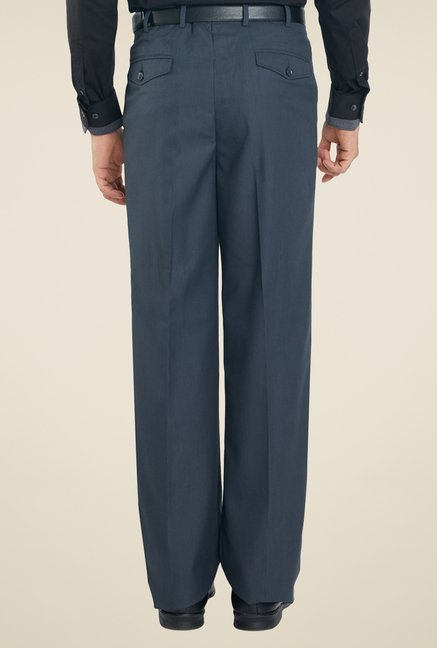 Raymond Dark Blue Solid Trousers