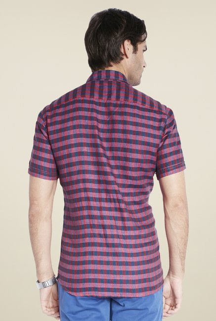 Parx Dark Red Checks Linen Shirt