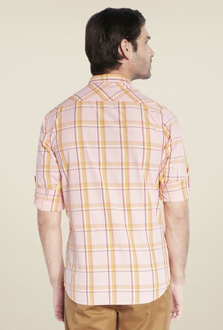 ColorPlus Peach Checks Shirt