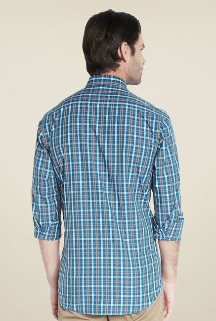ColorPlus Teal Checks Shirt