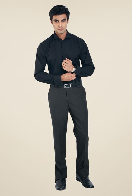 Park Avenue Dark Grey Solid Trousers