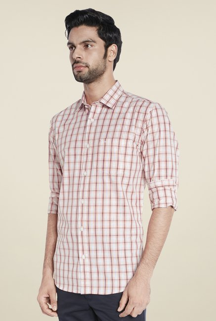 ColorPlus Orange Checks Shirt