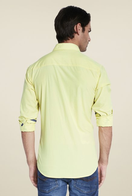 Park Avenue Yellow Solid Shirt