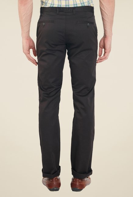 Raymond Dark Brown Solid Trousers