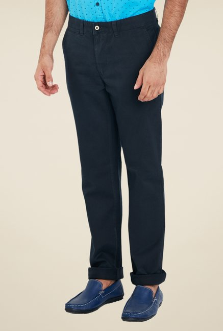 Park Avenue Navy Solid Chinos