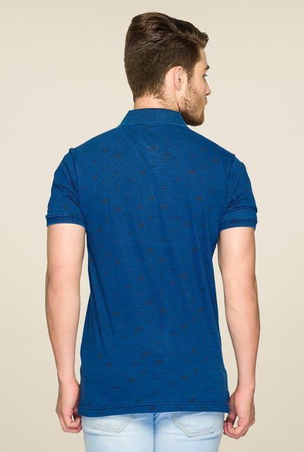 ColorPlus Blue Printed Short Sleeve T Shirt