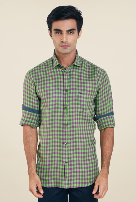 Park Avenue Green Checks Linen Shirt