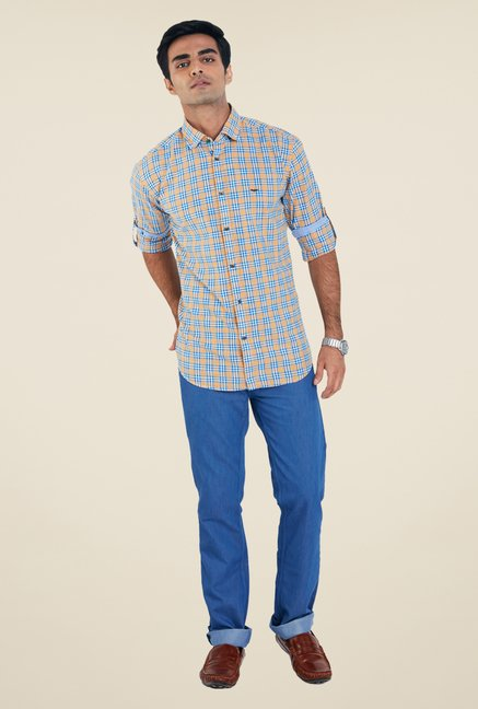 Park Avenue Yellow Checks Shirt