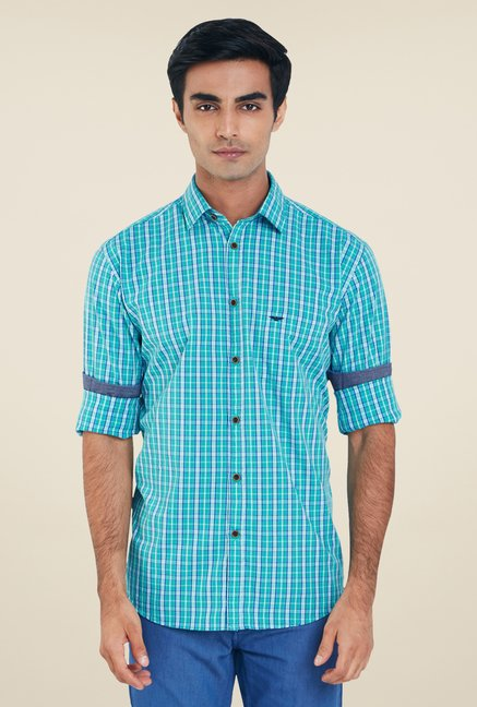 Park Avenue Turquoise Checks Shirt