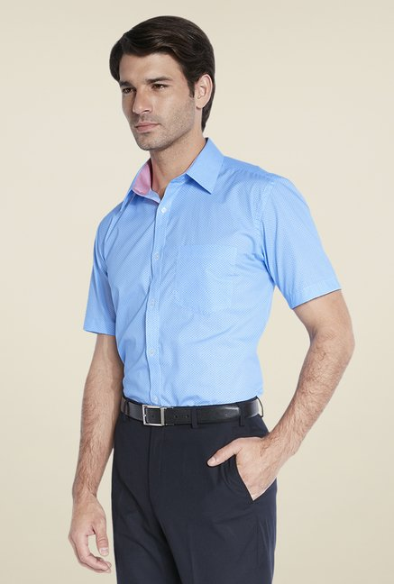 Park Avenue Blue Self Print Shirt