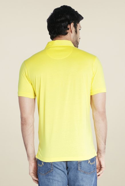 Park Avenue Yellow Self Print T Shirt