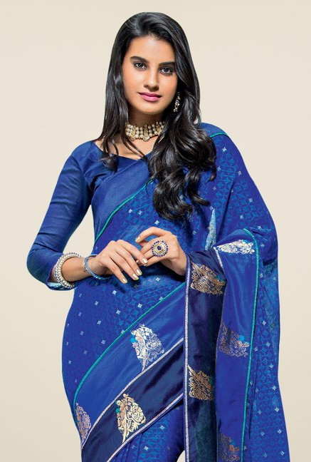 Triveni Blue Printed Brasso Saree