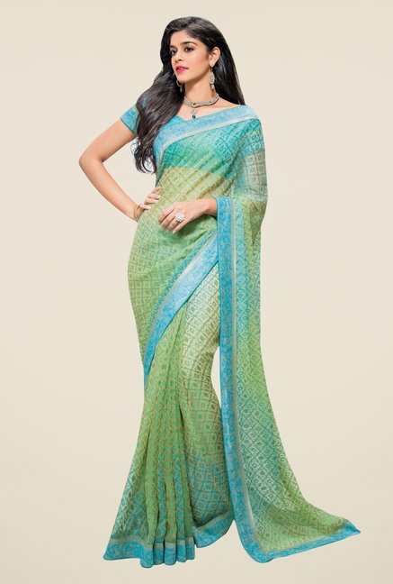 Triveni Green & Blue Printed Brasso Saree