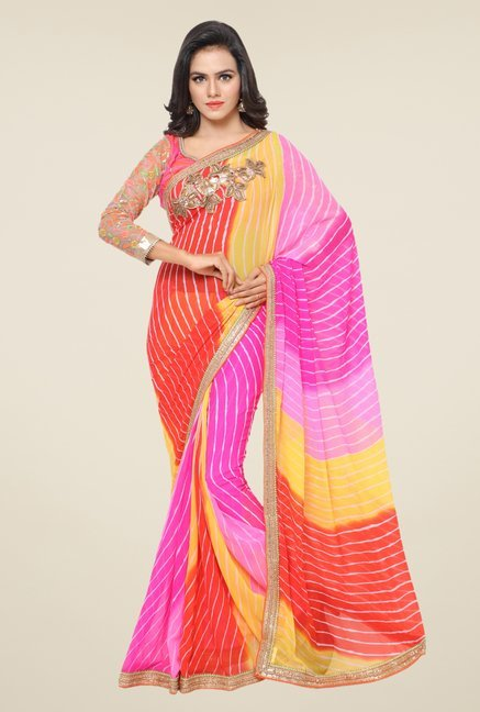 Triveni Multicolor Striped Faux Georgette Chiffon Saree