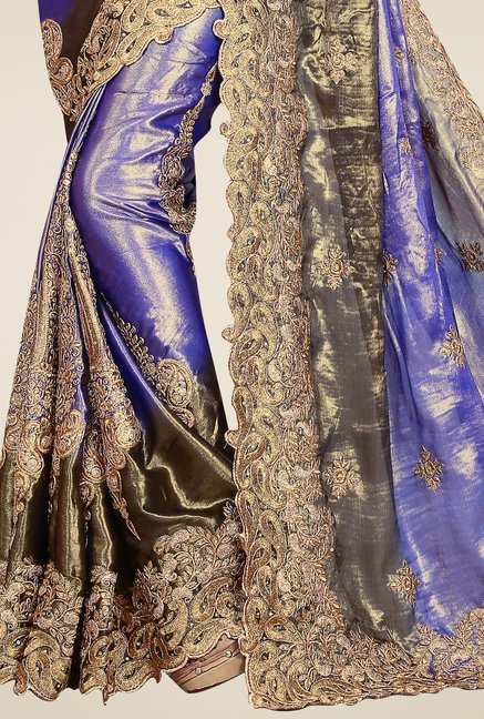 Triveni Purple & Gold Embroidered Satin Chiffon Saree