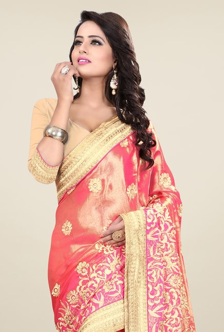 Triveni Pink Embroidered Satin Chiffon Saree