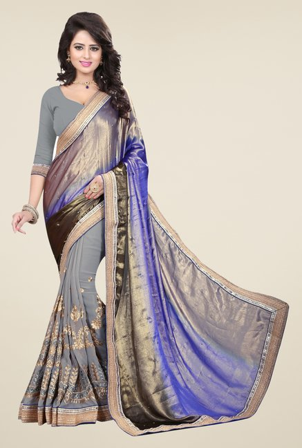 Triveni Grey & Blue Embroidered Saree