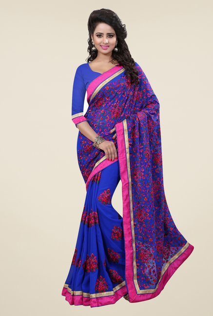 Triveni Blue Embroidered Faux Georgette Saree
