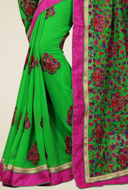 Triveni Green Embroidered Faux Georgette Saree