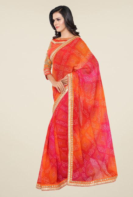 Triveni Multicolor Printed Faux Georgette Chiffon Saree