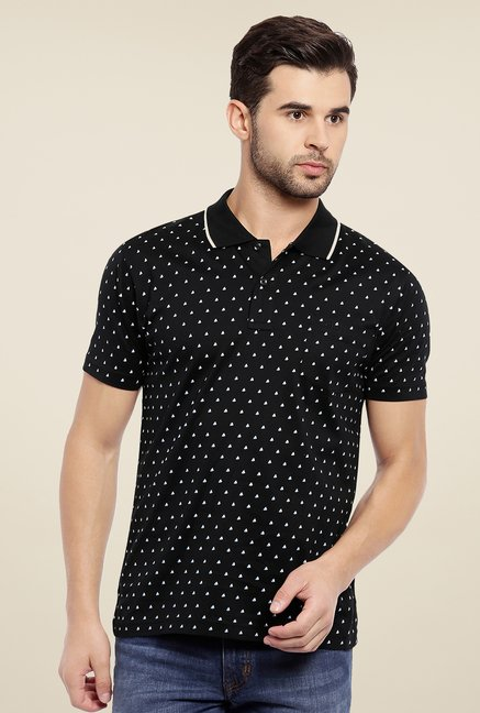 ColorPlus Black Printed T Shirt