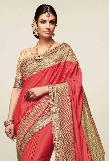 Triveni Red Embellished Satin Chiffon Saree