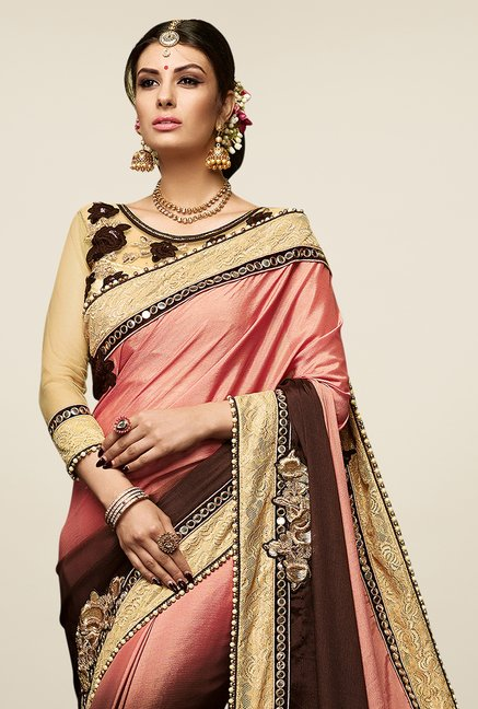 Triveni Brown & Pink Embroidered Satin Chiffon Saree