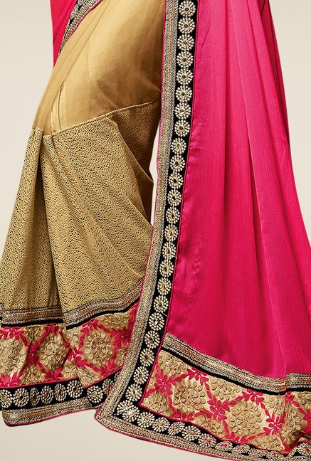 Triveni Beige & Pink Embroidered Chiffon Net Saree